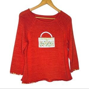 Vintage Coral beaded knit sweater